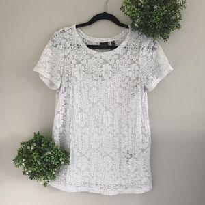 Rafaella white lace short sleeve top size small
